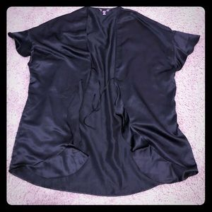 Tops - Black satin short sleeve tie front cover up